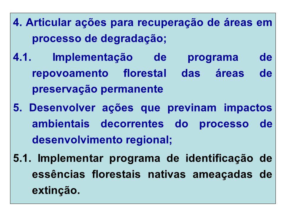 4. Articular ações para recuperação de áreas em processo de degradação; 4.1.