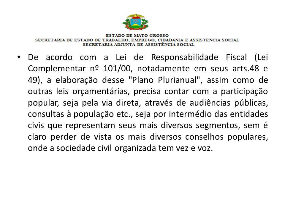 De acordo com a Lei de Responsabilidade Fiscal (Lei Complementar nº 101/00, notadamente em seus arts.48 e 49), a elaboração desse