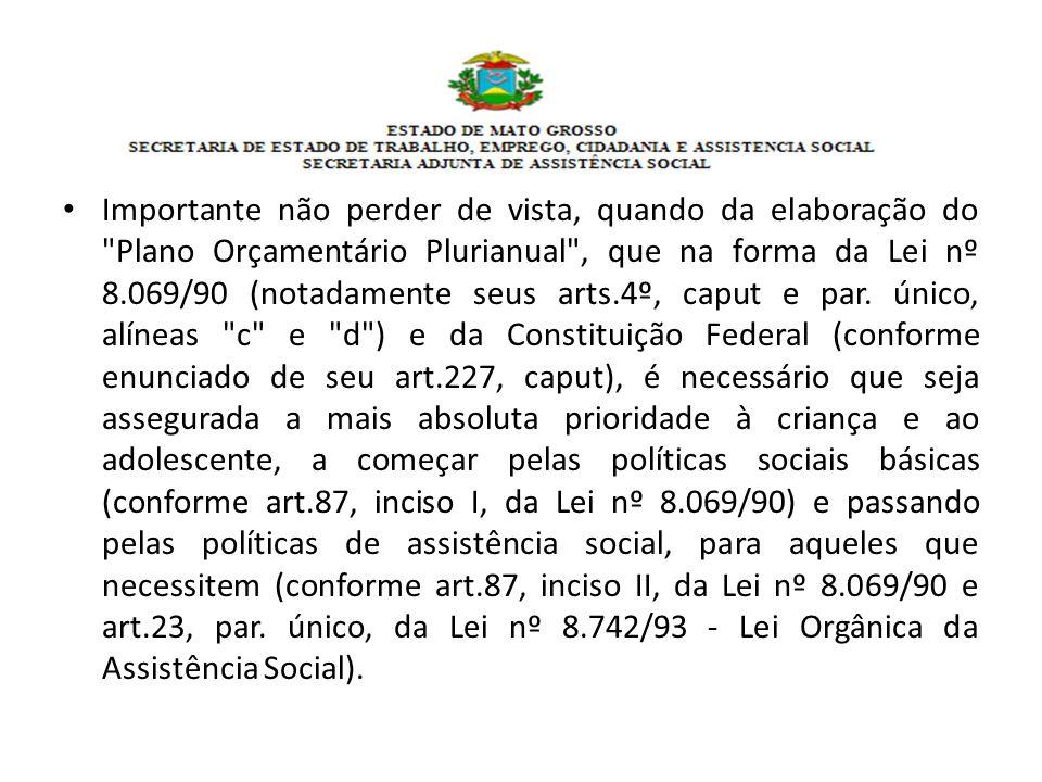 Importante não perder de vista, quando da elaboração do Plano Orçamentário Plurianual , que na forma da Lei nº 8.069/90 (notadamente seus arts.4º, caput e par.