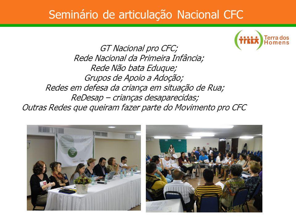 Seminário de articulação Nacional CFC GT Nacional pro CFC; Rede Nacional da Primeira Infância; Rede Não bata Eduque; Grupos de Apoio a Adoção; Redes e