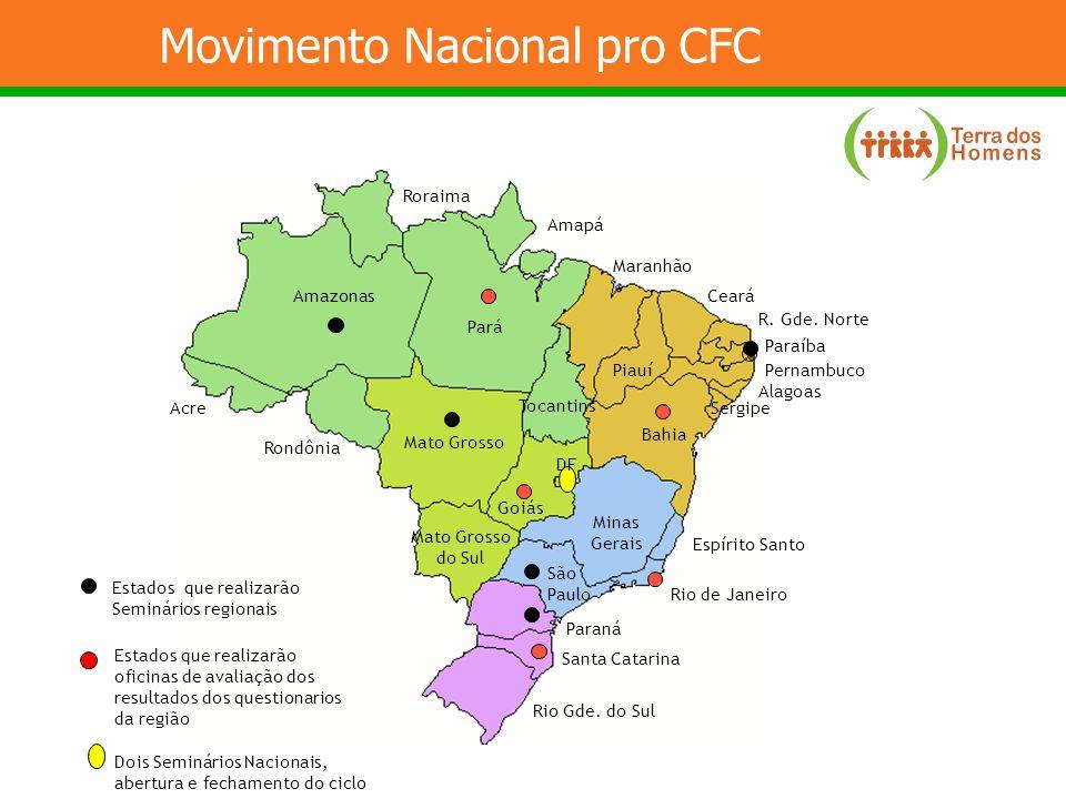 Movimento Nacional pro CFC Dois Estados que realizarão Seminários regionais Estados que realizarão oficinas de avaliação dos resultados dos questionar