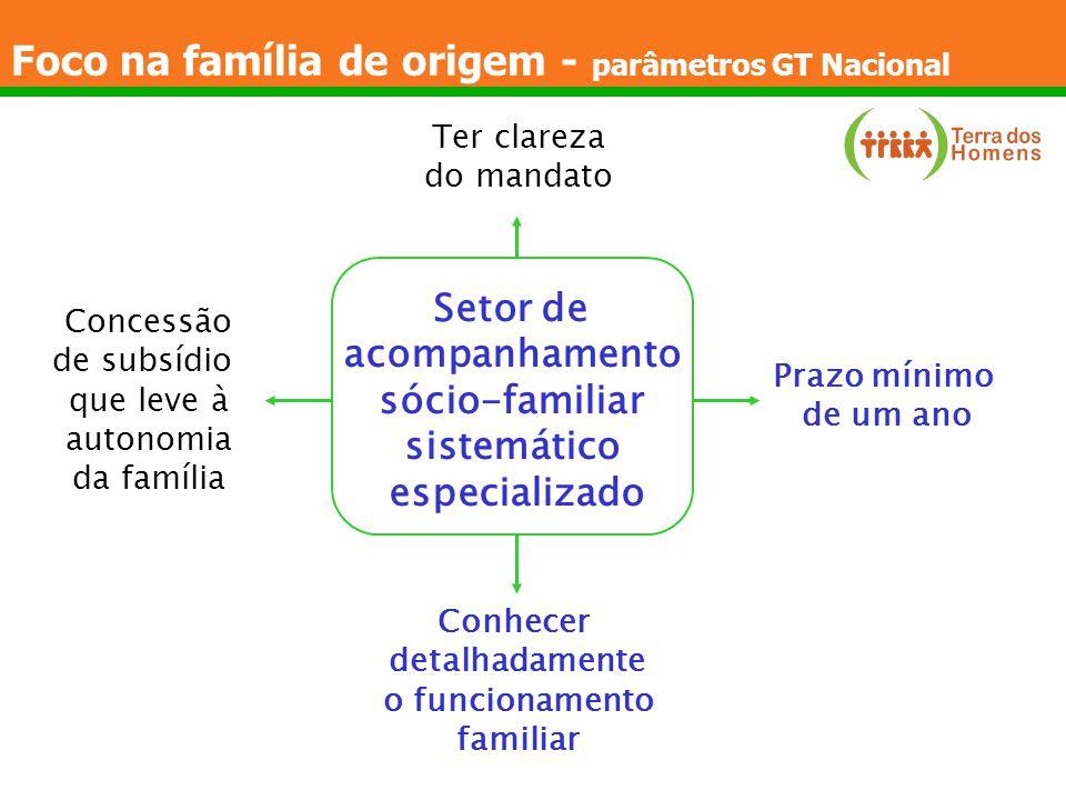 Foco na família de origem - parâmetros GT Nacional Setor de acompanhamento sócio-familiar sistemático especializado Prazo mínimo de um ano Conhecer de