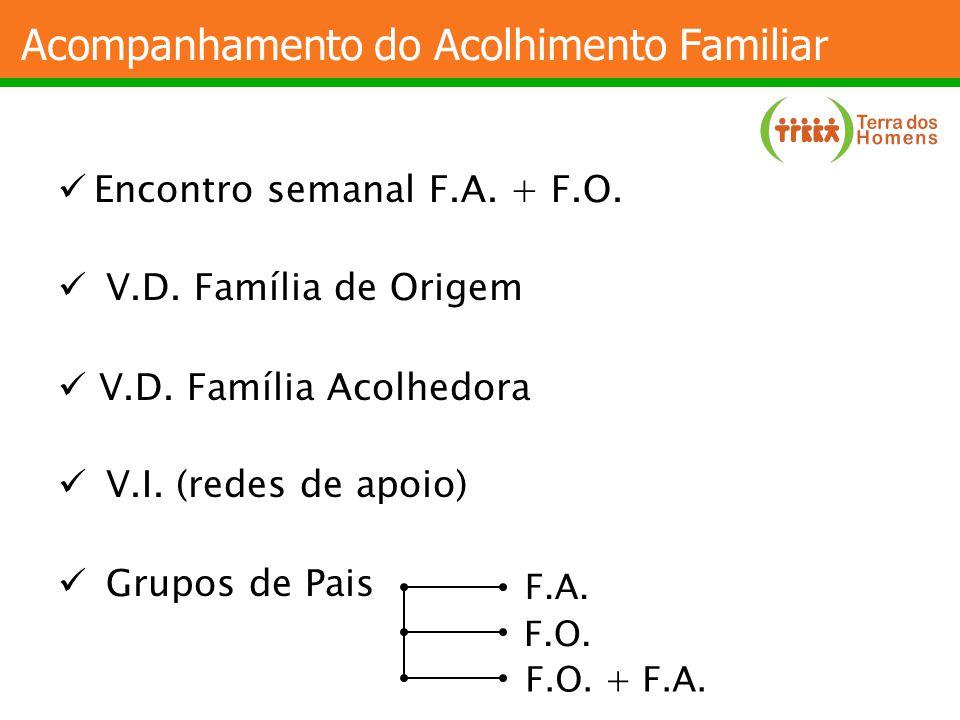 Acompanhamento do Acolhimento Familiar Encontro semanal F.A. + F.O. V.D. Família de Origem V.D. Família Acolhedora V.I. (redes de apoio) Grupos de Pai