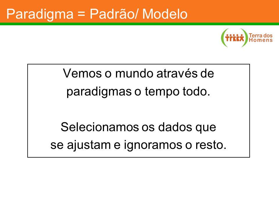 Paradigma = Padrão/ Modelo Vemos o mundo através de paradigmas o tempo todo. Selecionamos os dados que se ajustam e ignoramos o resto.