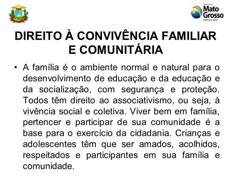 DIREITO À CONVIVÊNCIA FAMILIAR E COMUNITÁRIA A família é o ambiente normal e natural para o desenvolvimento de educação e da educação e da socialização, com segurança e proteção.