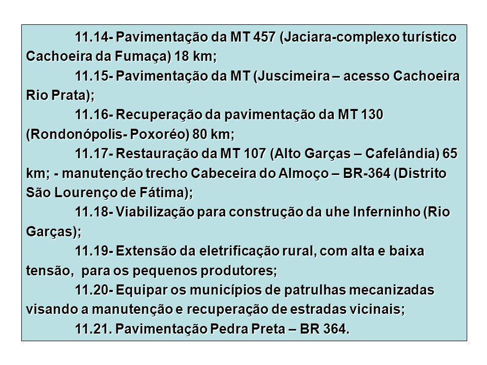 11.14- Pavimentação da MT 457 (Jaciara-complexo turístico Cachoeira da Fumaça) 18 km; 11.15- Pavimentação da MT (Juscimeira – acesso Cachoeira Rio Pra