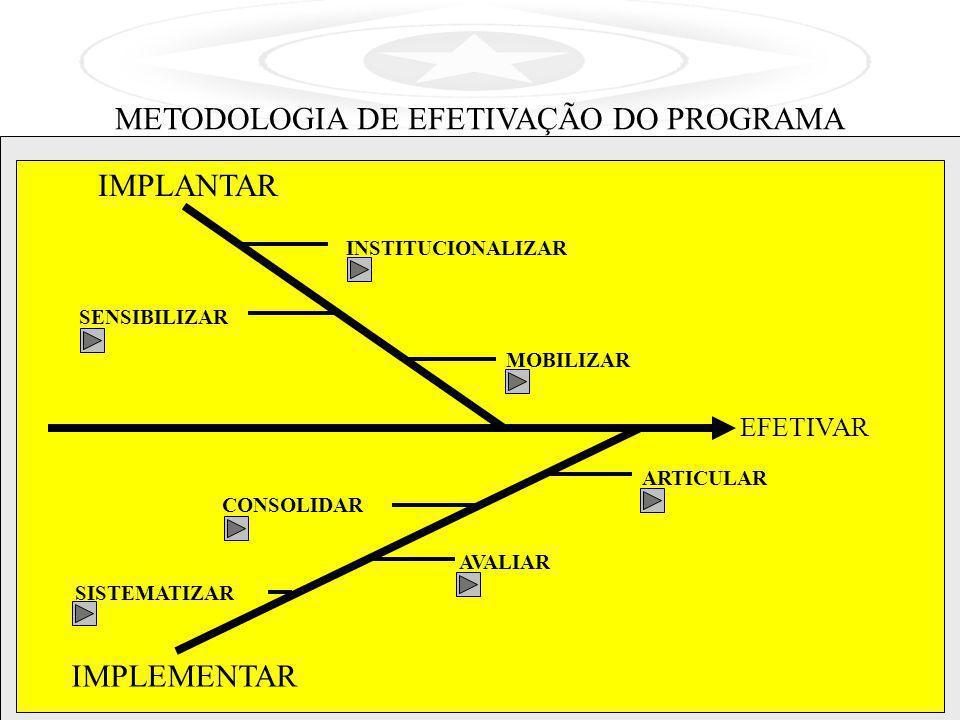 EFETIVAR IMPLANTAR IMPLEMENTAR MOBILIZAR INSTITUCIONALIZAR SENSIBILIZAR ARTICULAR CONSOLIDAR AVALIAR SISTEMATIZAR METODOLOGIA DE EFETIVAÇÃO DO PROGRAM