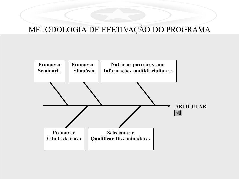 ARTICULAR Nutrir os parceiros com Informações multidisciplinares Promover Simpósio Selecionar e Qualificar Disseminadores Promover Seminário Promover