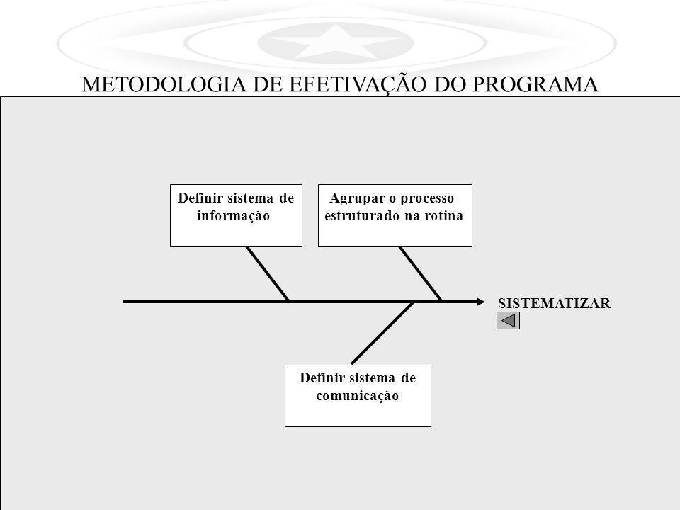 SISTEMATIZAR Agrupar o processo estruturado na rotina Definir sistema de informação Definir sistema de comunicação METODOLOGIA DE EFETIVAÇÃO DO PROGRA