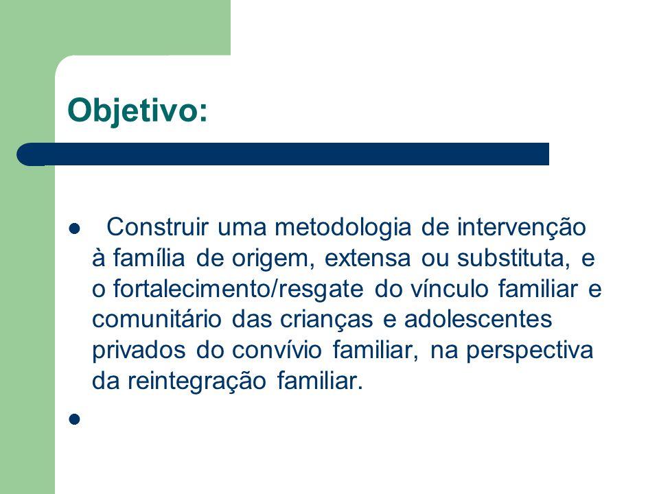 Objetivo: Construir uma metodologia de intervenção à família de origem, extensa ou substituta, e o fortalecimento/resgate do vínculo familiar e comuni