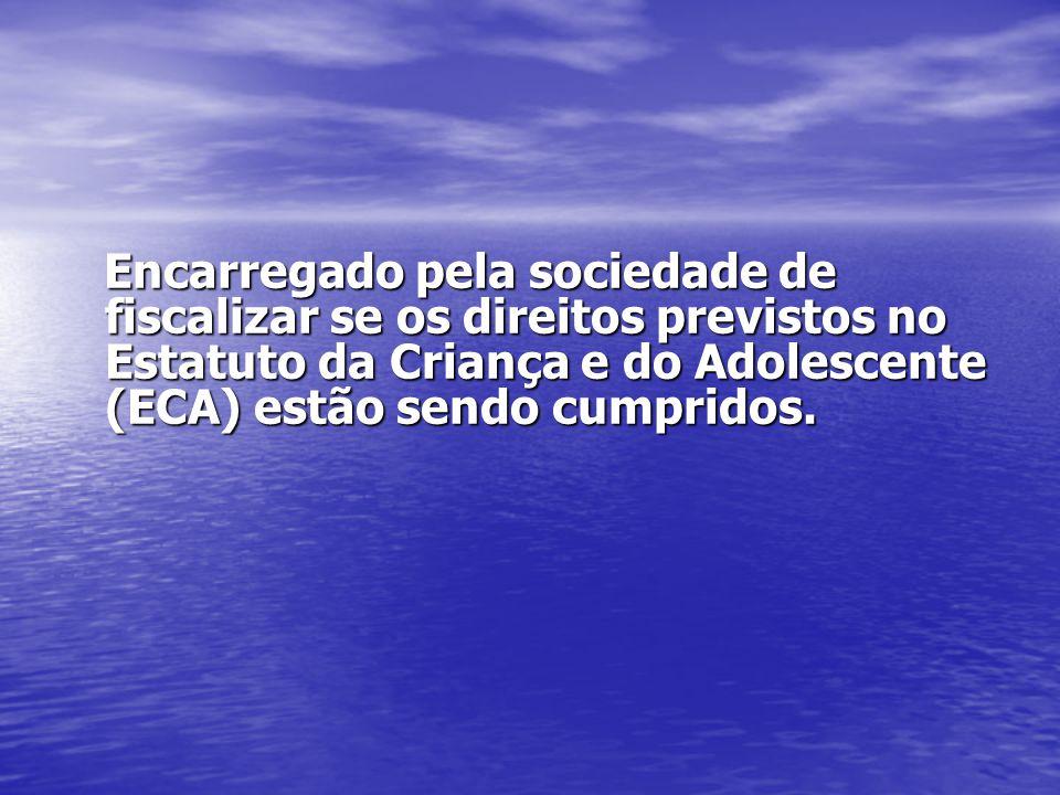 Encarregado pela sociedade de fiscalizar se os direitos previstos no Estatuto da Criança e do Adolescente (ECA) estão sendo cumpridos. Encarregado pel