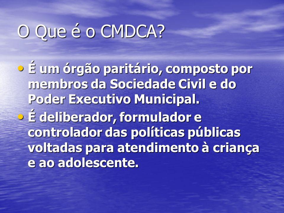 O Que é o CMDCA? É um órgão paritário, composto por membros da Sociedade Civil e do Poder Executivo Municipal. É um órgão paritário, composto por memb