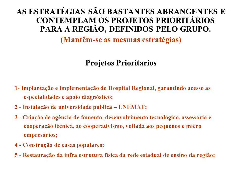 AS ESTRATÉGIAS SÃO BASTANTES ABRANGENTES E CONTEMPLAM OS PROJETOS PRIORITÁRIOS PARA A REGIÃO, DEFINIDOS PELO GRUPO.