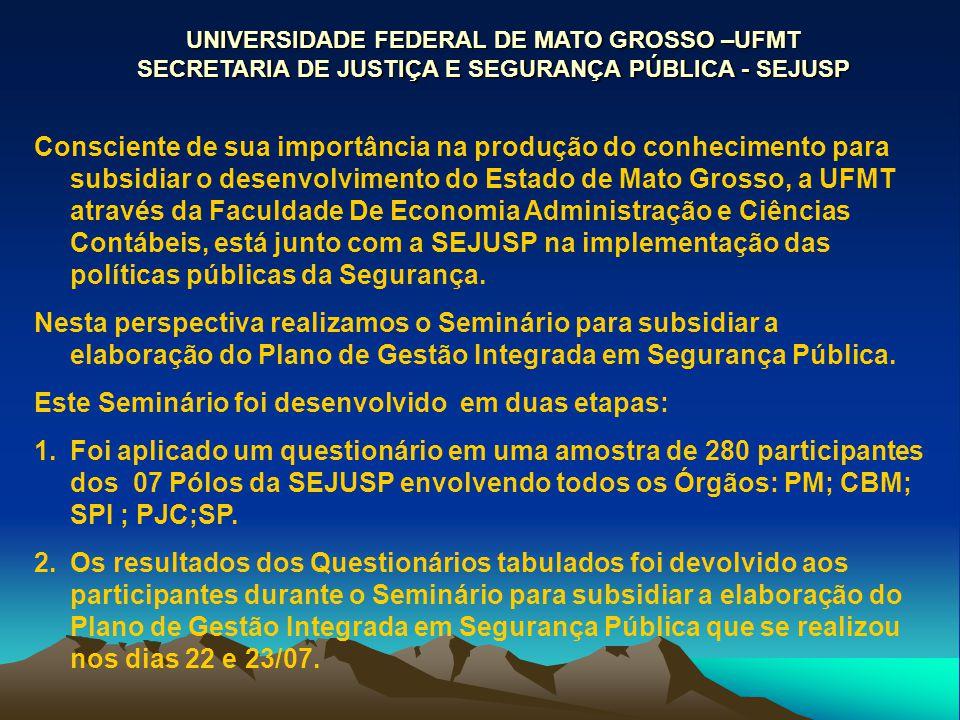 UNIVERSIDADE FEDERAL DE MATO GROSSO –UFMT SECRETARIA DE JUSTIÇA E SEGURANÇA PÚBLICA - SEJUSP Consciente de sua importância na produção do conhecimento
