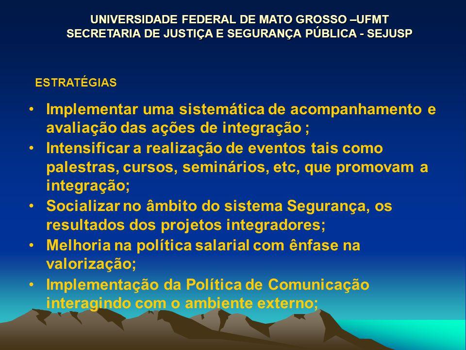 UNIVERSIDADE FEDERAL DE MATO GROSSO –UFMT SECRETARIA DE JUSTIÇA E SEGURANÇA PÚBLICA - SEJUSP ESTRATÉGIAS Implementar uma sistemática de acompanhamento