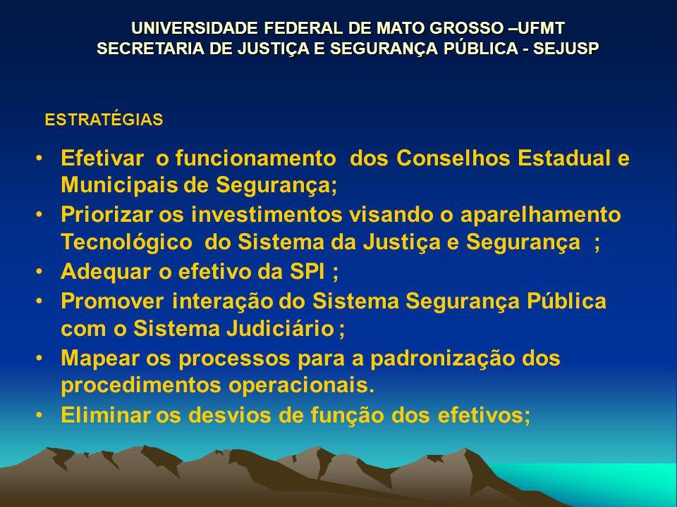 UNIVERSIDADE FEDERAL DE MATO GROSSO –UFMT SECRETARIA DE JUSTIÇA E SEGURANÇA PÚBLICA - SEJUSP ESTRATÉGIAS Efetivar o funcionamento dos Conselhos Estadu