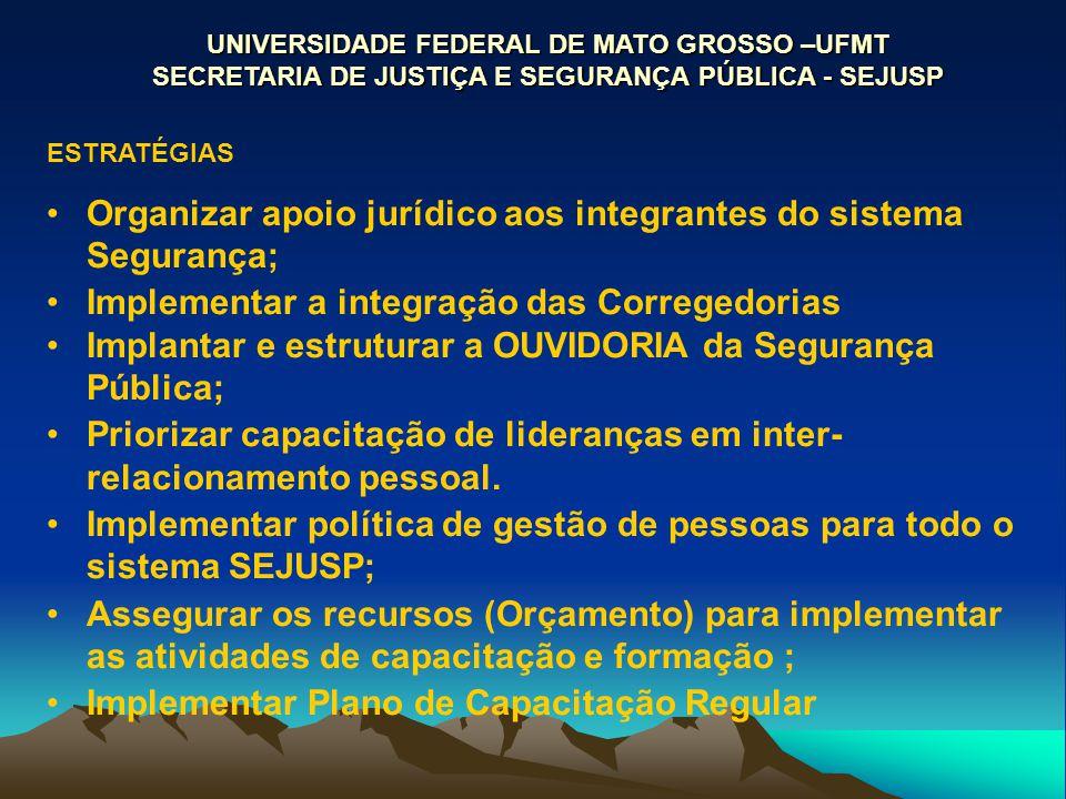 UNIVERSIDADE FEDERAL DE MATO GROSSO –UFMT SECRETARIA DE JUSTIÇA E SEGURANÇA PÚBLICA - SEJUSP ESTRATÉGIAS Organizar apoio jurídico aos integrantes do s