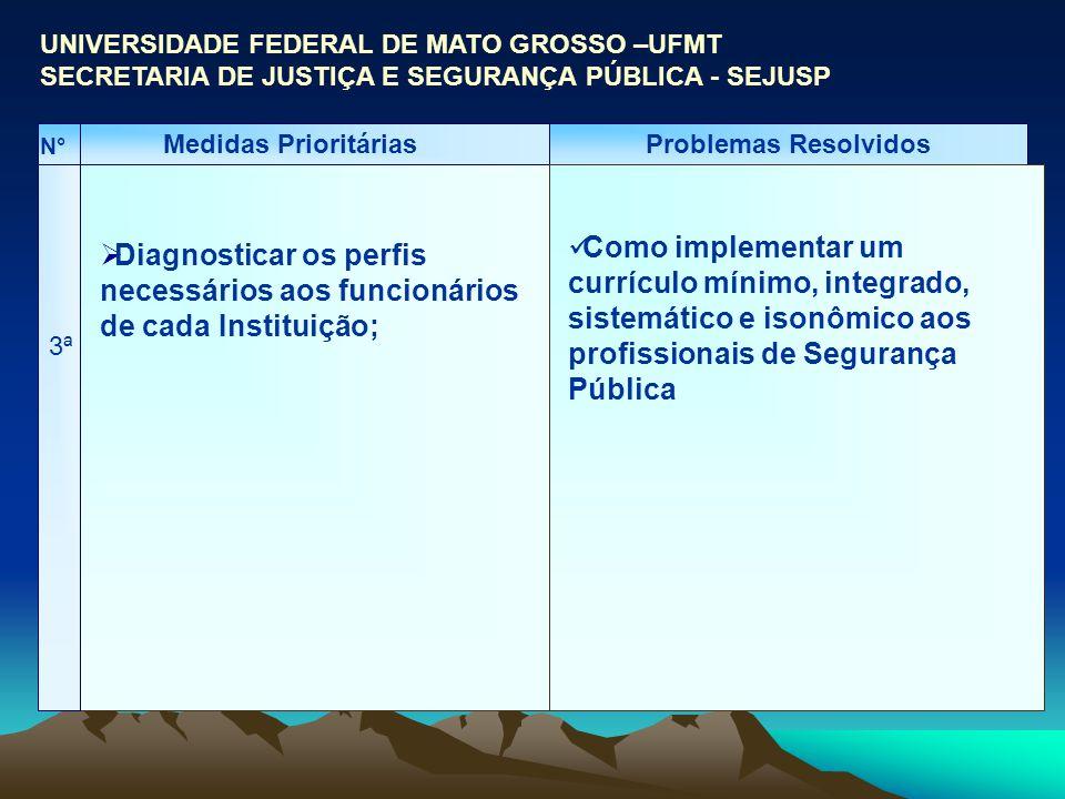 Medidas PrioritáriasProblemas Resolvidos 3ª N° Diagnosticar os perfis necessários aos funcionários de cada Instituição; UNIVERSIDADE FEDERAL DE MATO G