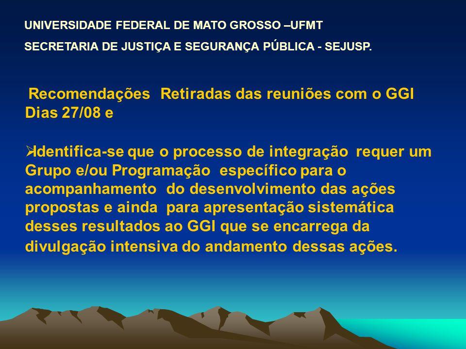 Recomendações Retiradas das reuniões com o GGI Dias 27/08 e Identifica-se que o processo de integração requer um Grupo e/ou Programação específico par