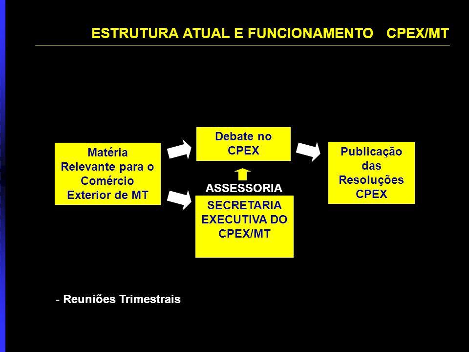 Matéria Relevante para o Comércio Exterior de MT SECRETARIA EXECUTIVA DO CPEX/MT Debate no CPEX Publicação das Resoluções CPEX ASSESSORIA - Reuniões Trimestrais ESTRUTURA ATUAL E FUNCIONAMENTO CPEX/MT