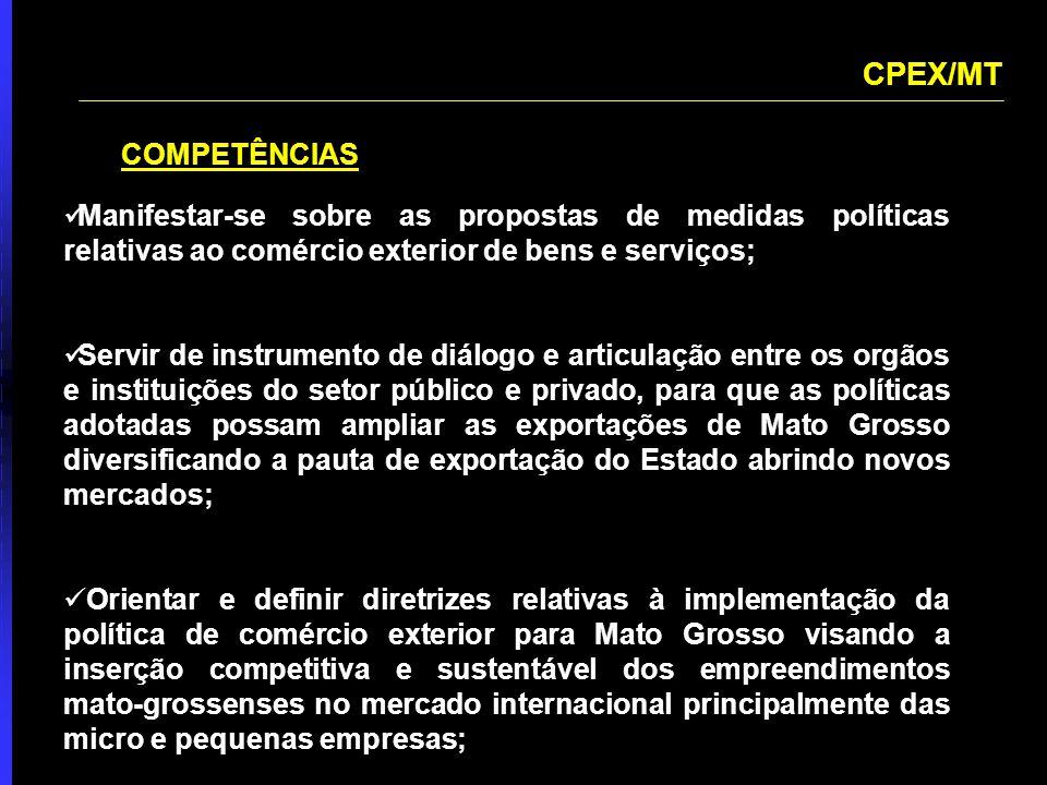 POLÍTICAS DE APOIO ÀS EXPORTAÇÕES OBJETIVOS AGREGAÇÃO DE VALOR ÀS EXPORTAÇÕES MATO-GROSSENSES AUMENTO DA BASE EXPORTADORA APERFEIÇOAMENTO DAS CONDIÇÕES DE ACESSO A FINANCIAMENTO E GARANTIA, COM REDUÇÃO DE CUSTOS REDUÇÃO DOS ENTRAVES BUROCRÁTICOS ÀS EXPORTAÇÕES MELHORIA DAS CONDIÇÕES DE INFRA ESTRUTURA - REDUÇÃO DO CUSTO OPERACIONAL DAS EXPORTAÇÕES AGRESSIVO PROGRAMA DE PROMOÇÃO COMERCIAL E DE ACESSO A MERCADOS INSERÇÃO DE NOVAS EMPRESA MATO-GROSSENSES NO MERCADO EXTERNO ATRAÇÃO E RETENÇÃO DE INVESTIMENTOS ESTRANGEIROS DIRETOS
