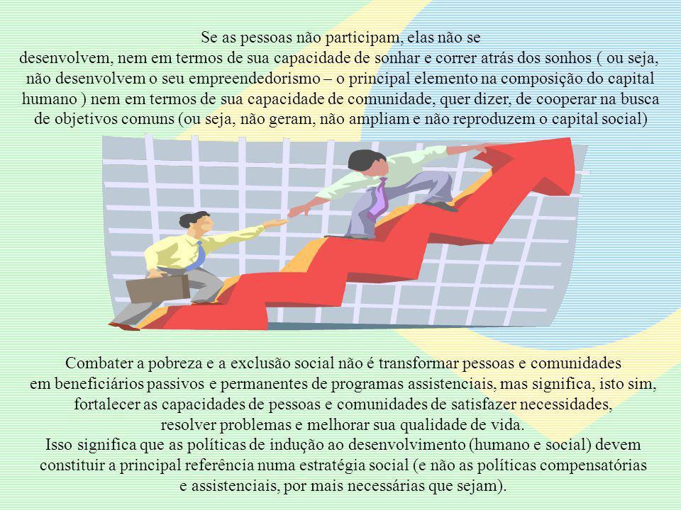 Se as pessoas não participam, elas não se desenvolvem, nem em termos de sua capacidade de sonhar e correr atrás dos sonhos ( ou seja, não desenvolvem o seu empreendedorismo – o principal elemento na composição do capital humano ) nem em termos de sua capacidade de comunidade, quer dizer, de cooperar na busca de objetivos comuns (ou seja, não geram, não ampliam e não reproduzem o capital social) Combater a pobreza e a exclusão social não é transformar pessoas e comunidades em beneficiários passivos e permanentes de programas assistenciais, mas significa, isto sim, fortalecer as capacidades de pessoas e comunidades de satisfazer necessidades, resolver problemas e melhorar sua qualidade de vida.