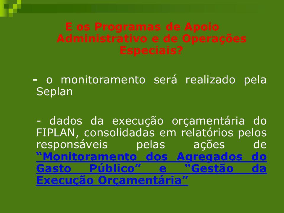 E os Programas de Apoio Administrativo e de Operações Especiais? - o monitoramento será realizado pela Seplan - dados da execução orçamentária do FIPL
