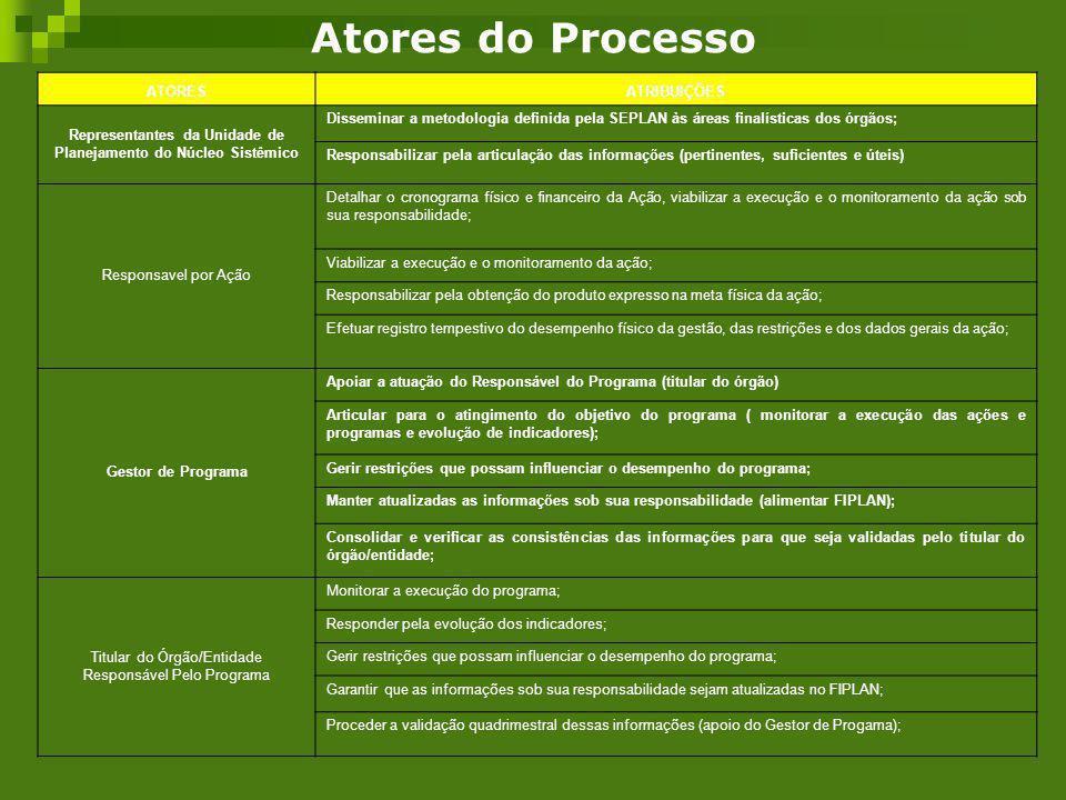 Atores do Processo ATORESATRIBUIÇÕES Representantes da Unidade de Planejamento do Núcleo Sistêmico Disseminar a metodologia definida pela SEPLAN às ár