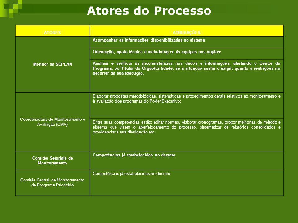 Atores do Processo ATORESATRIBUIÇÕES Monitor da SEPLAN Acompanhar as informações disponibilizadas no sistema Orientação, apoio técnico e metodológico