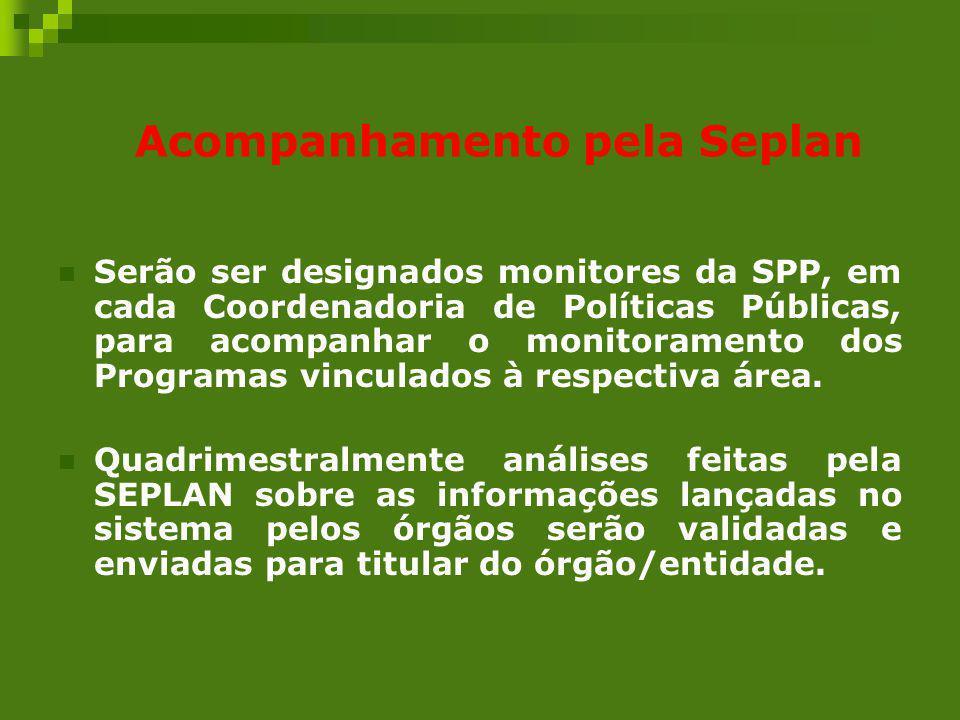 Acompanhamento pela Seplan Serão ser designados monitores da SPP, em cada Coordenadoria de Políticas Públicas, para acompanhar o monitoramento dos Pro