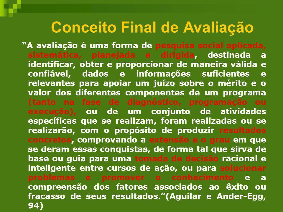 Conceito Final de Avaliação A avaliação é uma forma de pesquisa social aplicada, sistemática, planejada e dirigida, destinada a identificar, obter e p