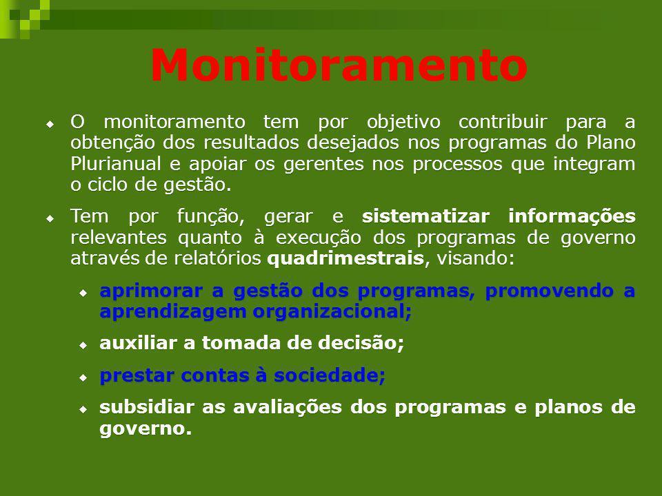 Monitoramento O monitoramento tem por objetivo contribuir para a obtenção dos resultados desejados nos programas do Plano Plurianual e apoiar os geren