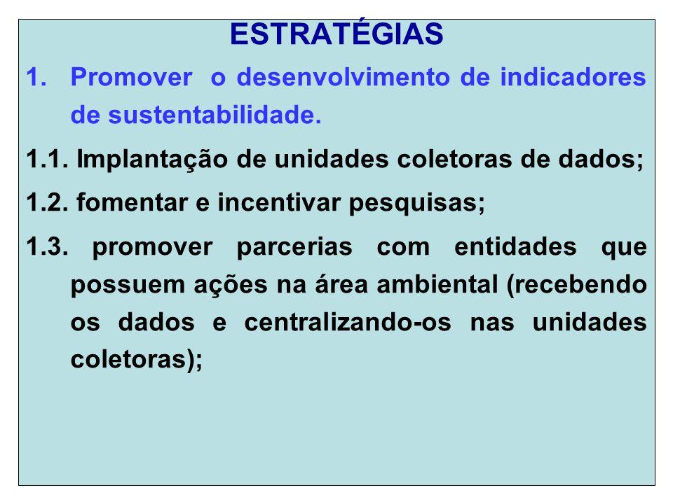 ESTRATÉGIAS 1.Promover o desenvolvimento de indicadores de sustentabilidade.