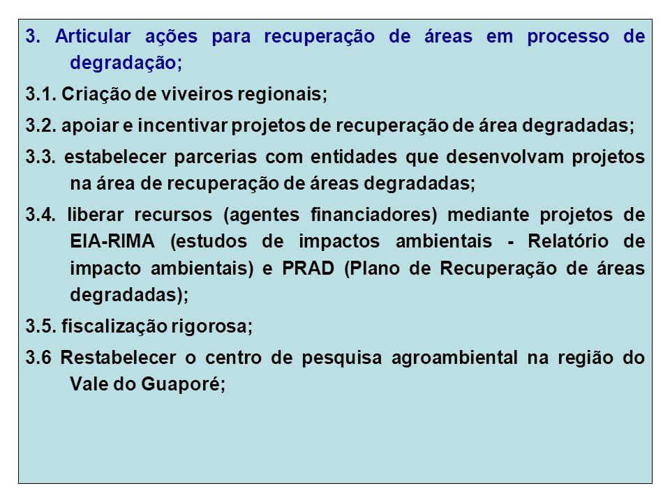 3. Articular ações para recuperação de áreas em processo de degradação; 3.1.