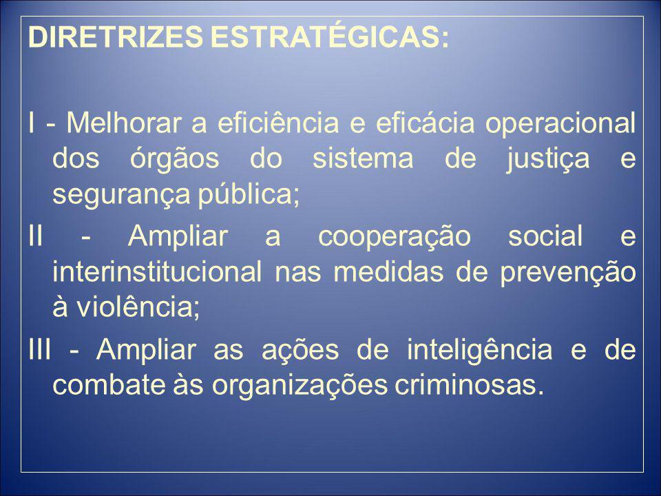 DIRETRIZES ESTRATÉGICAS: I - Melhorar a eficiência e eficácia operacional dos órgãos do sistema de justiça e segurança pública; II - Ampliar a cooperação social e interinstitucional nas medidas de prevenção à violência; III - Ampliar as ações de inteligência e de combate às organizações criminosas.