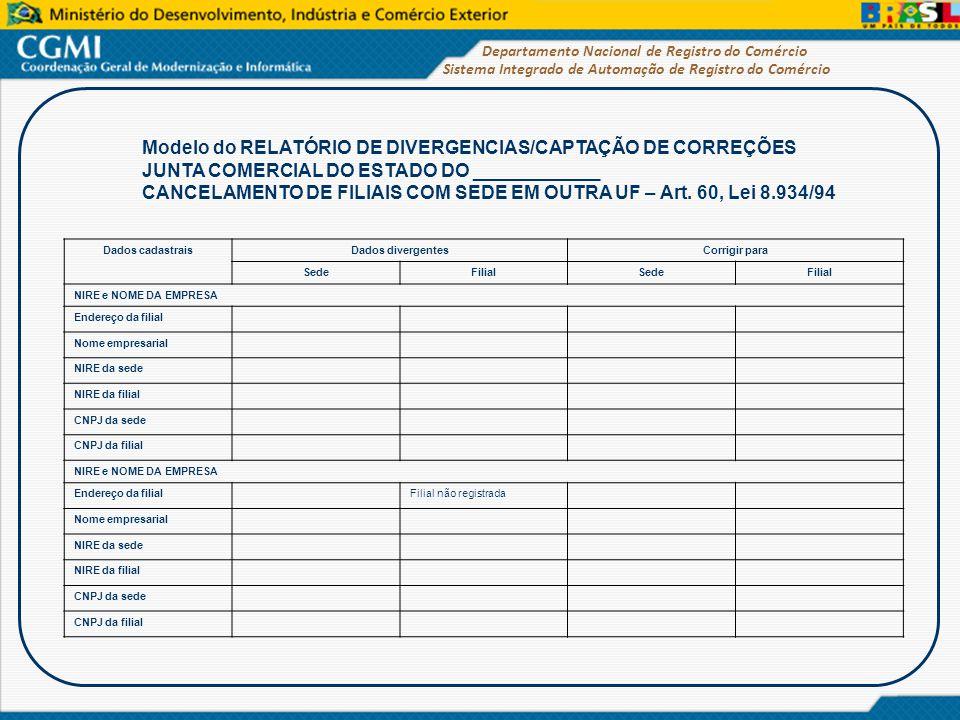 Sistema Integrado de Automação de Registro do Comércio Departamento Nacional de Registro do Comércio Modelo do RELATÓRIO DE DIVERGENCIAS/CAPTAÇÃO DE C