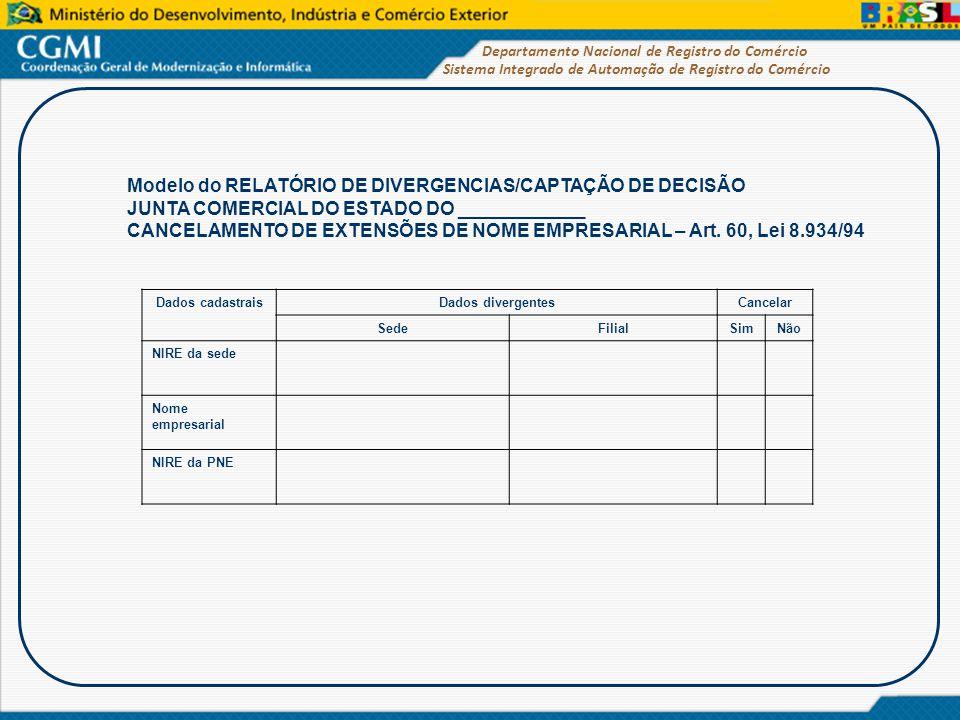 Sistema Integrado de Automação de Registro do Comércio Departamento Nacional de Registro do Comércio Modelo do RELATÓRIO DE DIVERGENCIAS/CAPTAÇÃO DE D