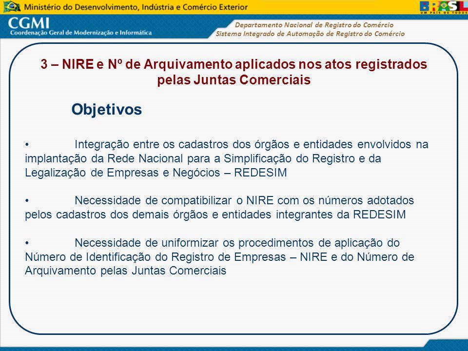 Sistema Integrado de Automação de Registro do Comércio Departamento Nacional de Registro do Comércio 3 – NIRE e Nº de Arquivamento aplicados nos atos