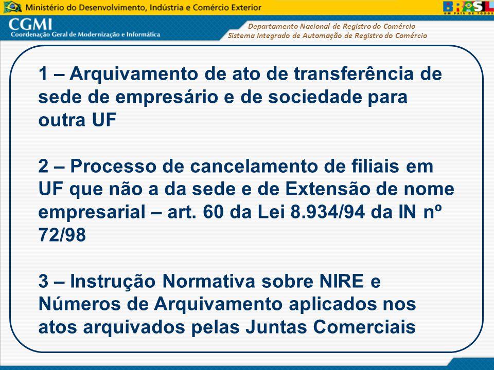 Sistema Integrado de Automação de Registro do Comércio Departamento Nacional de Registro do Comércio 1 – Arquivamento de ato de transferência de sede