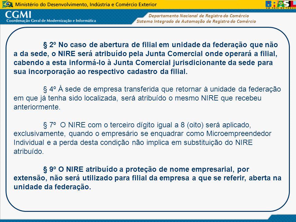 Sistema Integrado de Automação de Registro do Comércio Departamento Nacional de Registro do Comércio § 2º No caso de abertura de filial em unidade da