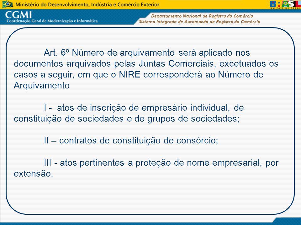Sistema Integrado de Automação de Registro do Comércio Departamento Nacional de Registro do Comércio Art. 6º Número de arquivamento será aplicado nos