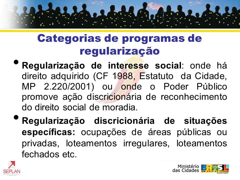 Categorias de programas de regularização Regularização de interesse social: onde há direito adquirido (CF 1988, Estatuto da Cidade, MP 2.220/2001) ou onde o Poder Público promove ação discricionária de reconhecimento do direito social de moradia.