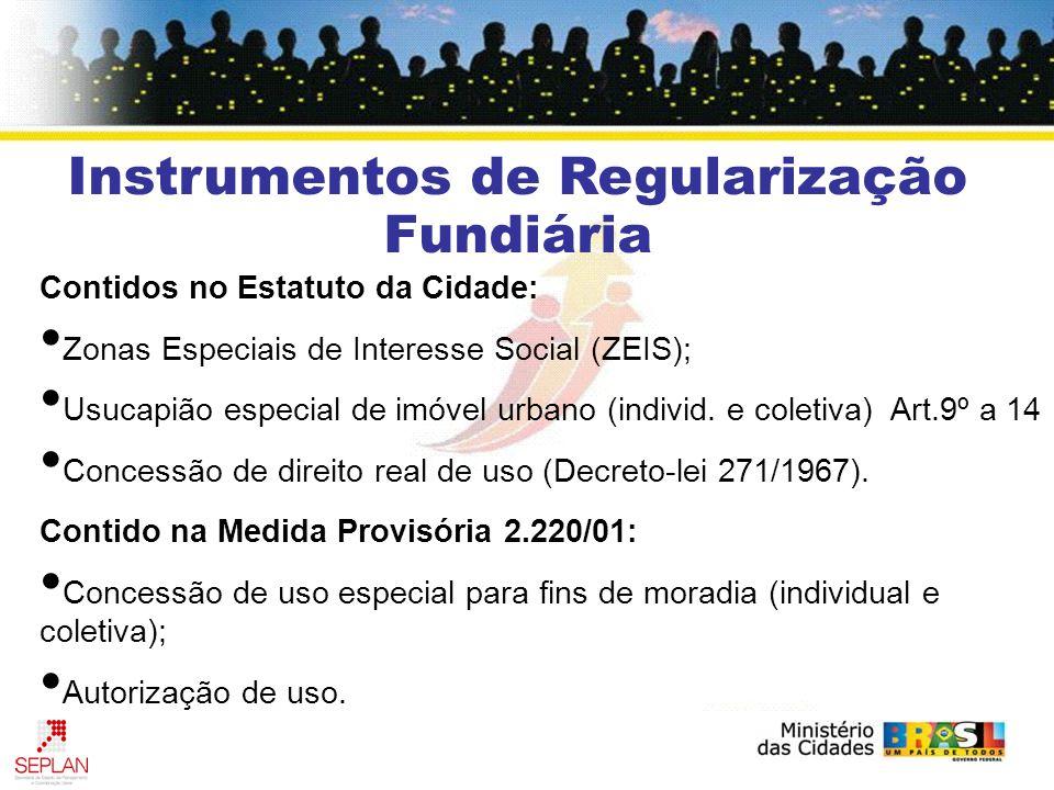 Contidos no Estatuto da Cidade: Zonas Especiais de Interesse Social (ZEIS); Usucapião especial de imóvel urbano (individ.