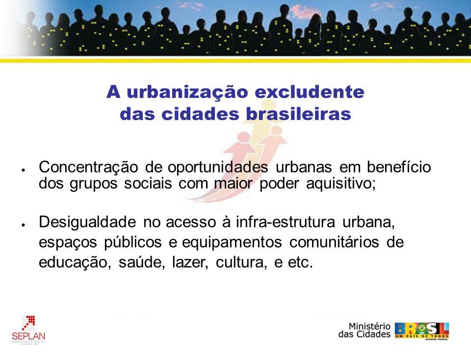 A urbanização excludente das cidades brasileiras Concentração de oportunidades urbanas em benefício dos grupos sociais com maior poder aquisitivo; Desigualdade no acesso à infra-estrutura urbana, espaços públicos e equipamentos comunitários de educação, saúde, lazer, cultura, e etc.