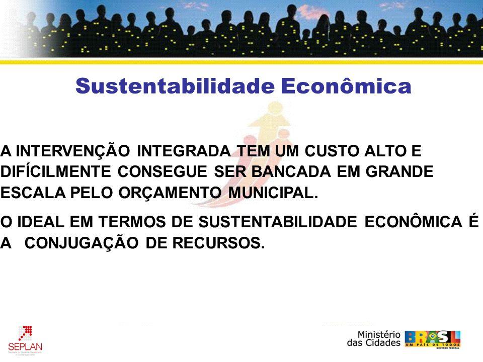 Sustentabilidade Econômica A INTERVENÇÃO INTEGRADA TEM UM CUSTO ALTO E DIFÍCILMENTE CONSEGUE SER BANCADA EM GRANDE ESCALA PELO ORÇAMENTO MUNICIPAL.
