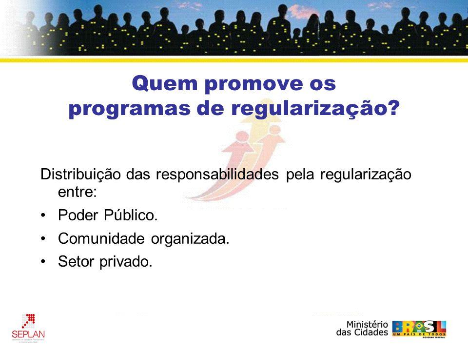Quem promove os programas de regularização.