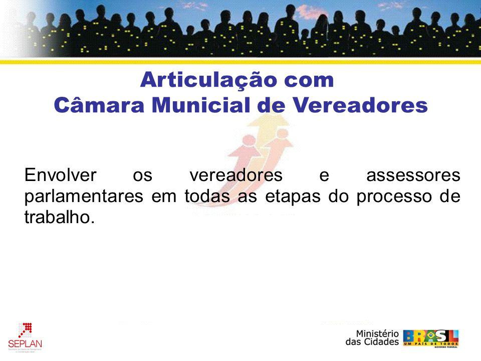 Articulação com Câmara Municial de Vereadores Envolver os vereadores e assessores parlamentares em todas as etapas do processo de trabalho.