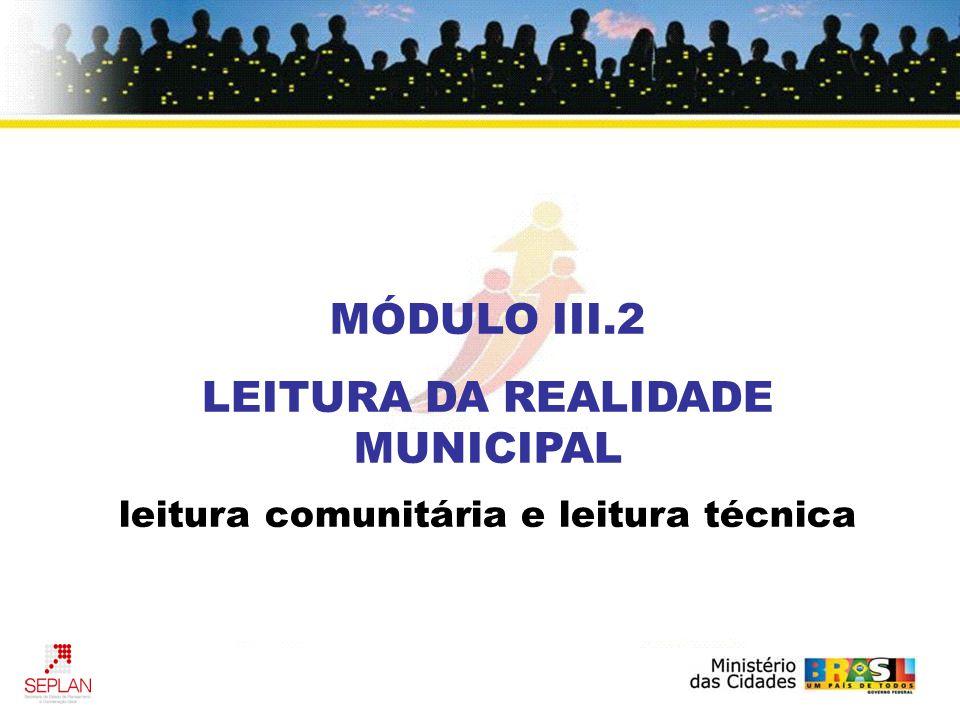 MÓDULO III.2 LEITURA DA REALIDADE MUNICIPAL leitura comunitária e leitura técnica