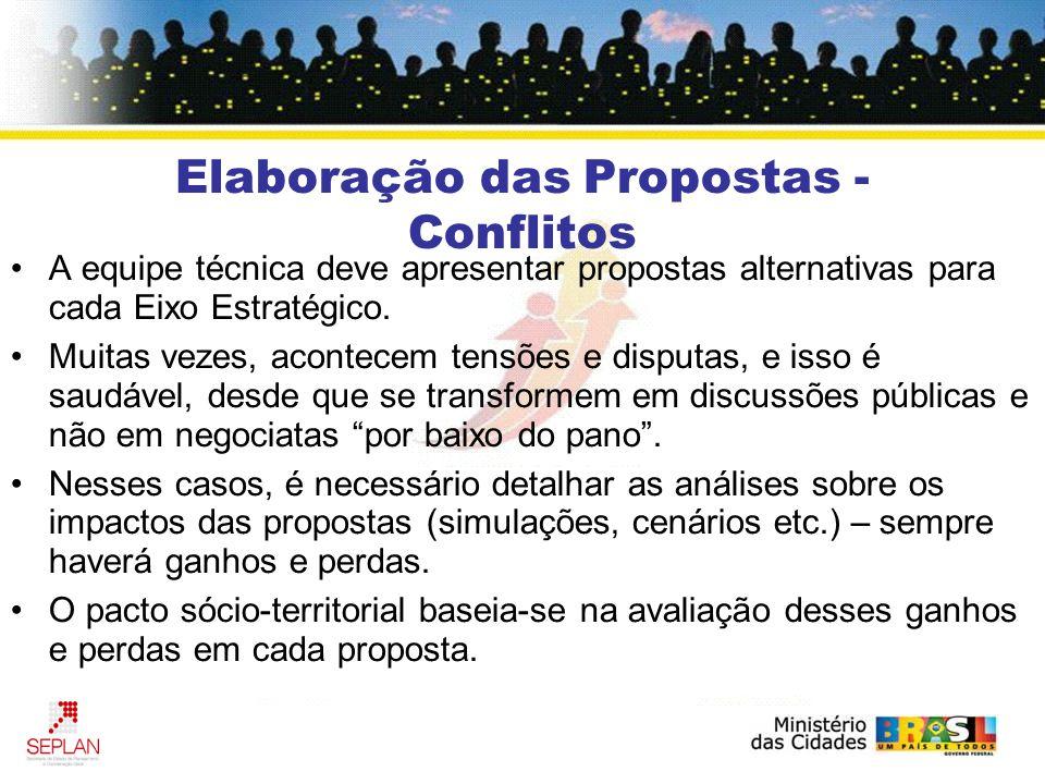 Elaboração das Propostas - Conflitos A equipe técnica deve apresentar propostas alternativas para cada Eixo Estratégico.