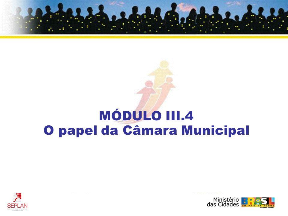 MÓDULO III.4 O papel da Câmara Municipal